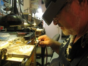 Stephen working on a custom jewelry design