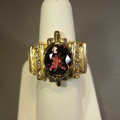 14k- yellow gold- pink - tourmaline ring