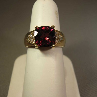 14k- Yellow Gold -Rhodelite -Garnet - Ring