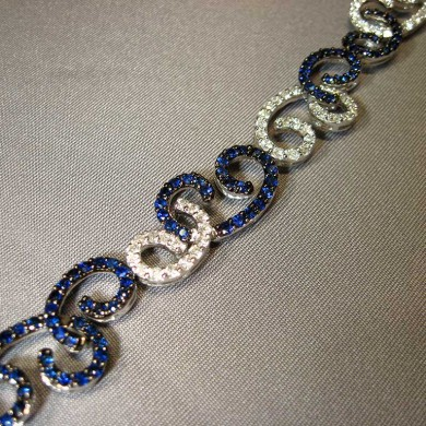 18k white gold diamond sapphire bracelet