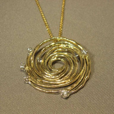 Small Gold Hurricane Diamond Pendant