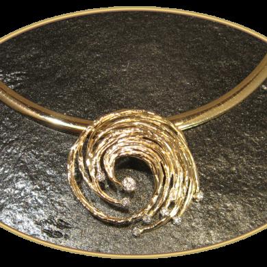 Award Winning Gold Hurricane Diamond Pendant