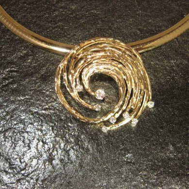 Award Winning Custom Gold Jewelry Designs - Hurricane Pendant