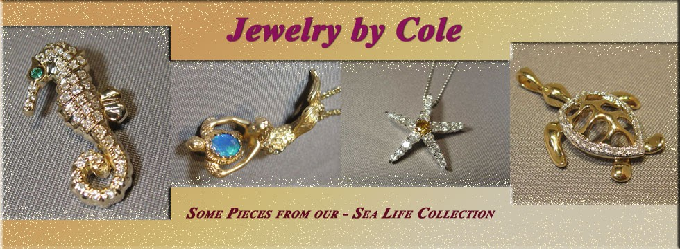 Gold Starfish, Gold Mermaid with gemstone